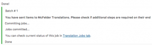 Basket contents successfully submitted to McFelder Translations