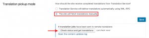 Checking for canceled jobs in manual translation pick up mode
