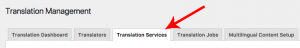 Translation Services tab in WPML