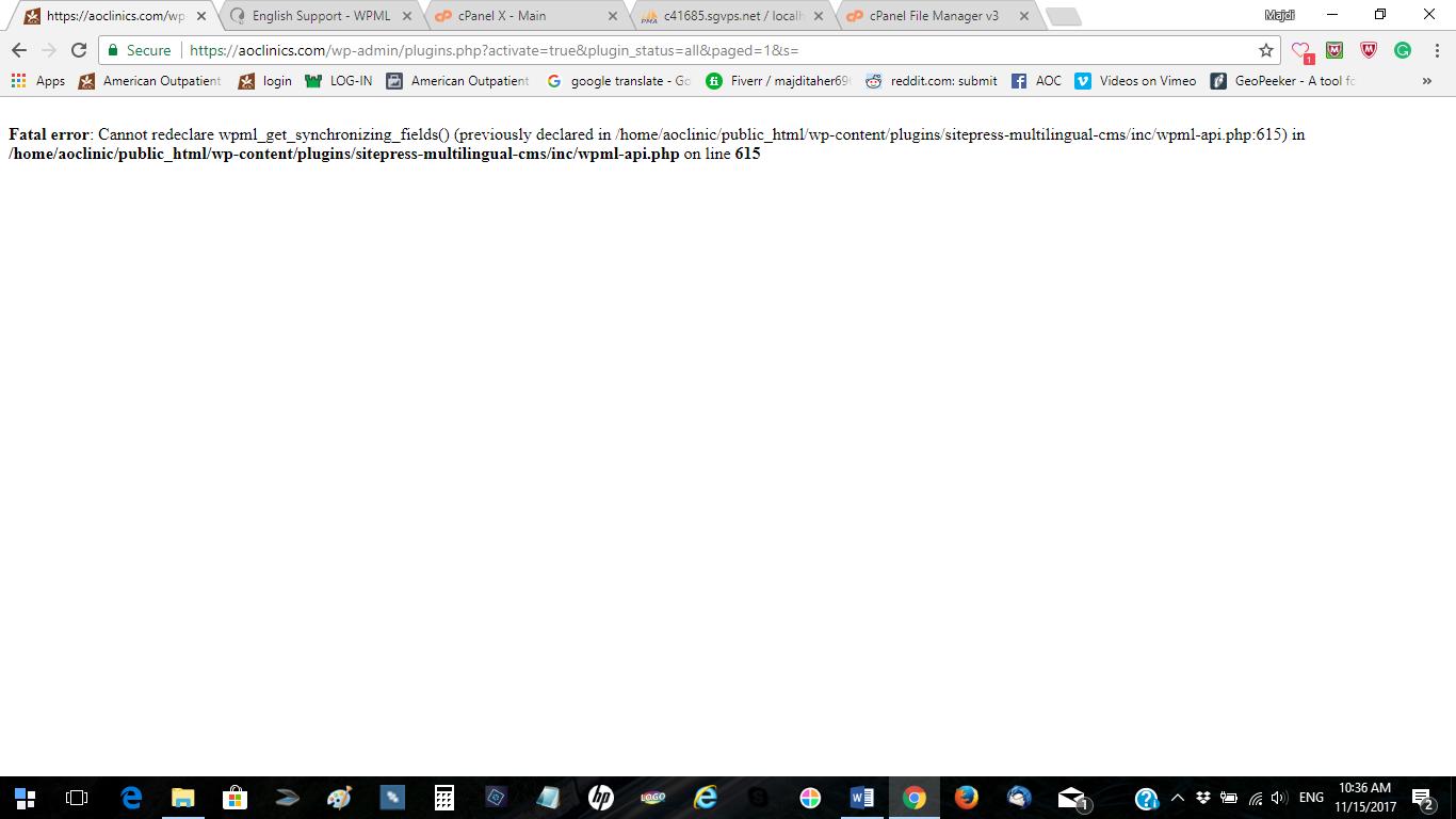site brakes when activating wpml - WPML