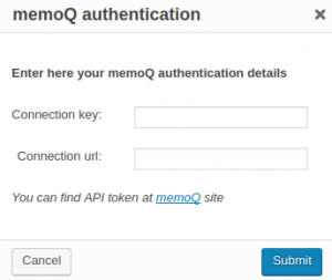 MemoQ authentication dialog window