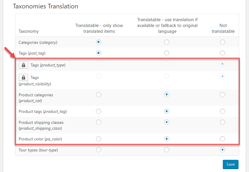 Setting product categories, tags and attributes to be displayed as translated