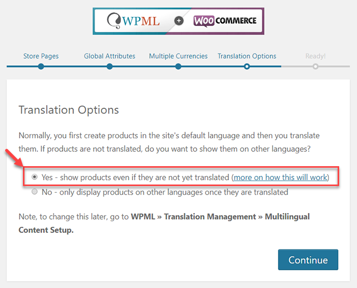 Setting the translation mode in the WooCommerce Multilingual setup wizard