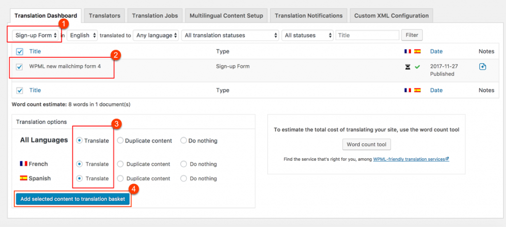Sending MailChimp for WordPress forms for translation