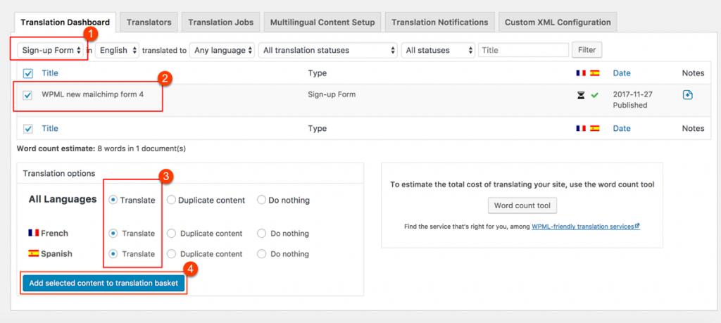 Sending MailChimp for WordPress forms for translation