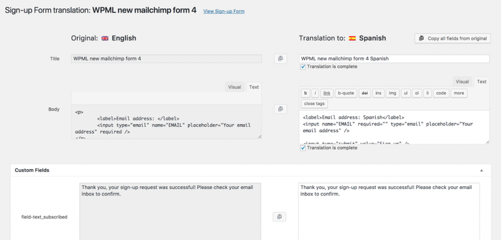 Translating forms using WPML Translation Editor