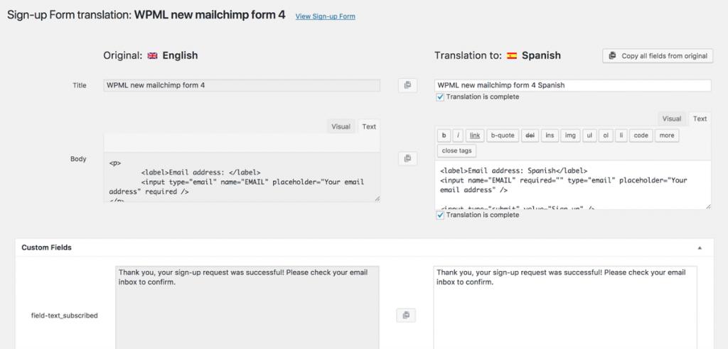 Translating forms using WPML Translation Editor