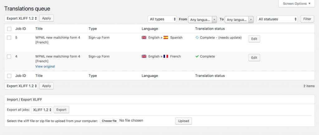 List of translation jobs