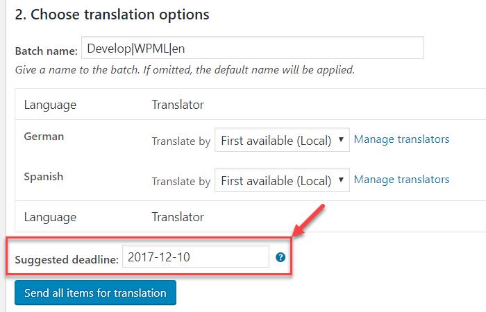 Suggested deadline field on the Translation Basket page
