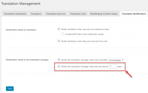 Notification option for overdue jobs