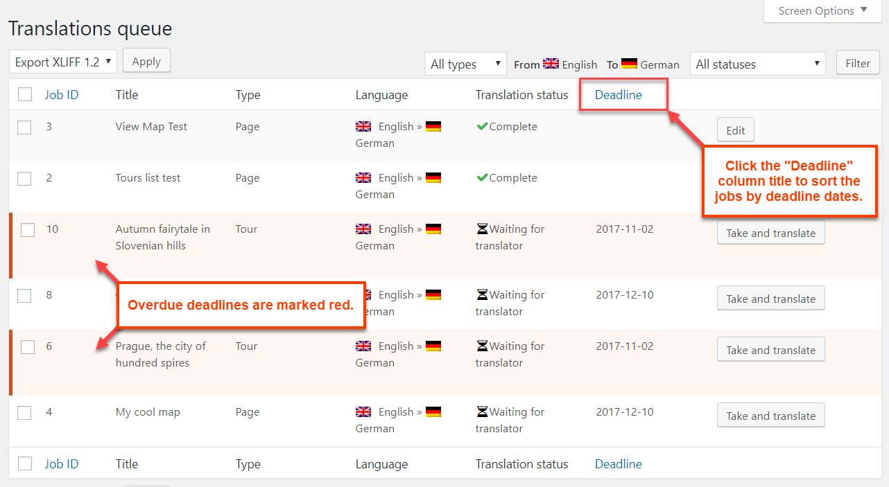 Using the suggested deadline on the Translations Jobs page