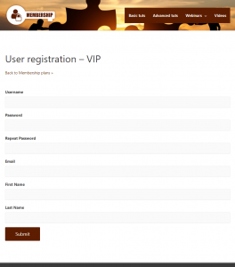User registration form connected to a WooCommerce checkout