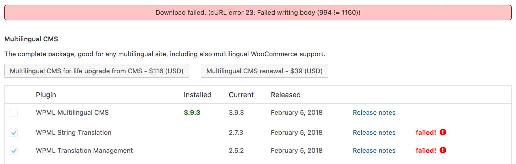String Translation and Translation Management - Download failed - WPML