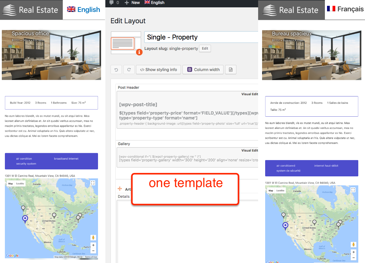 Create your templates once and translate only the content. Template layout for property pages created with Toolset plugins