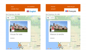 Tooltips in markers on a multilingual site that uses Google Maps