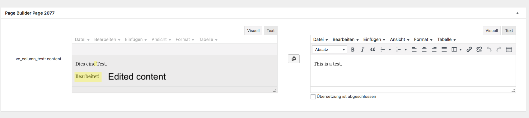 Show differences from page builder text blocks - WPML