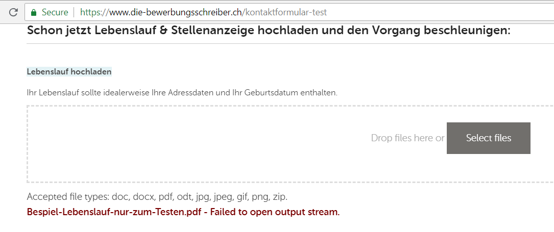 File upload does not work in other country codes (only on main URL ...