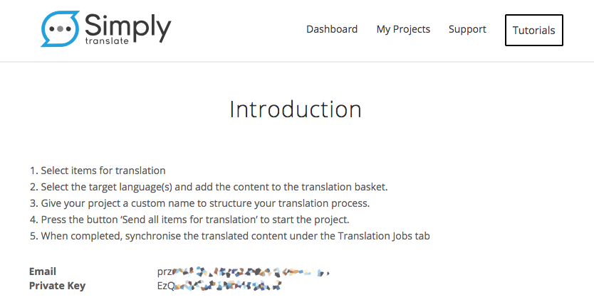 Simply Translate credentials
