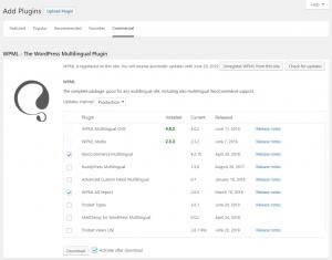 Onglet Professionnels de la page des modules d'extension après enregistrement de votre site