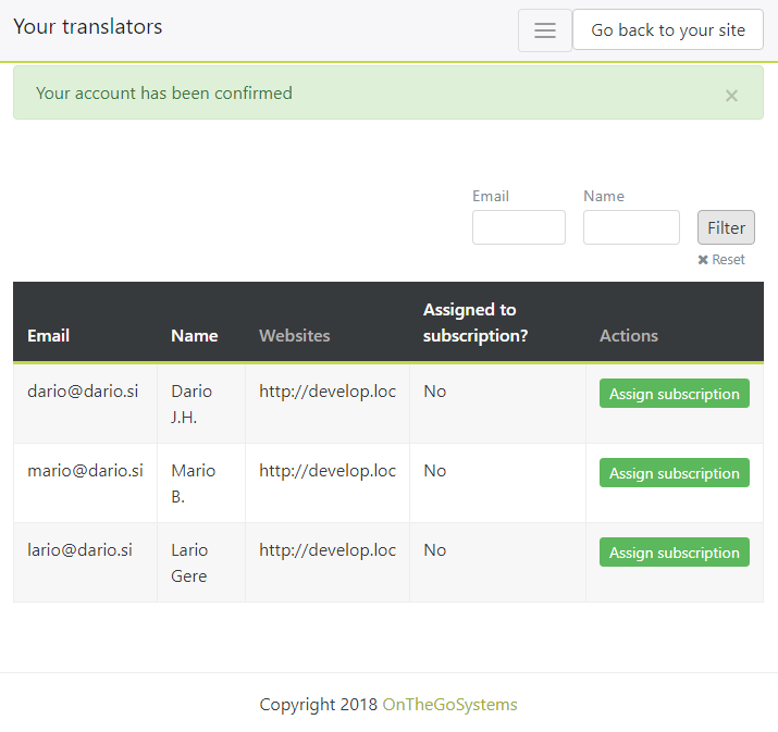 Admin page to assign subscription to Advanced Translation Editor to local translators