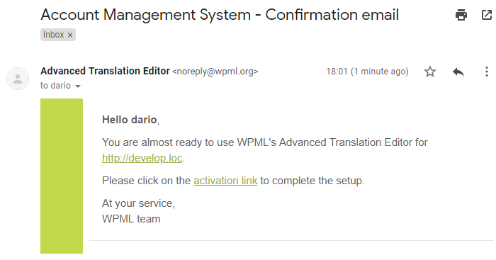 Email with the activation link for the Advanced Translation Editor