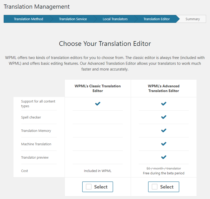 Choosing the translation editor for your local translators