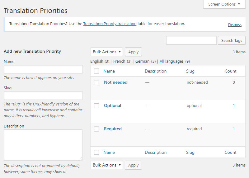 Page for creating and editing Translation Priority terms