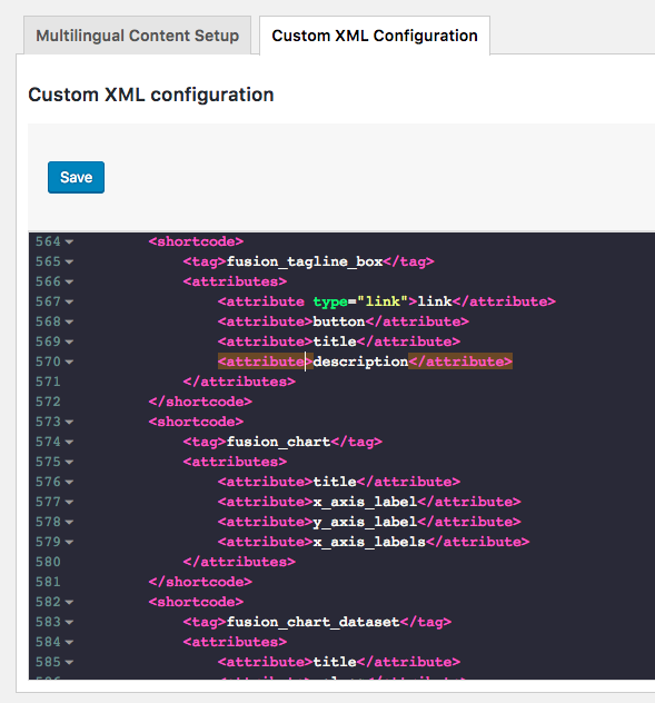 In the XML editor, find the field with an encoding issue