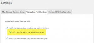 Enabling XLIFF files in translator notification emails