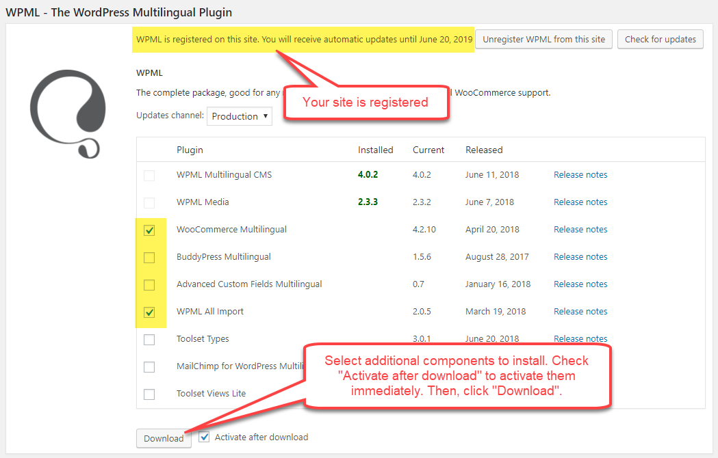 Instale los componentes adicionales de WPML.