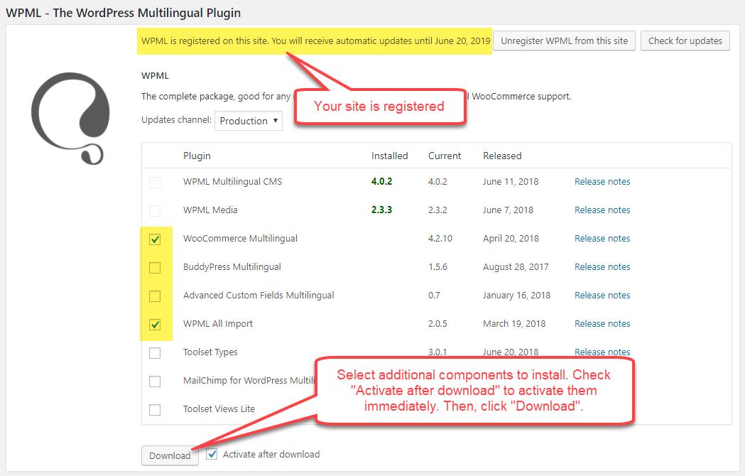 Installer des composants WPML supplémentaires