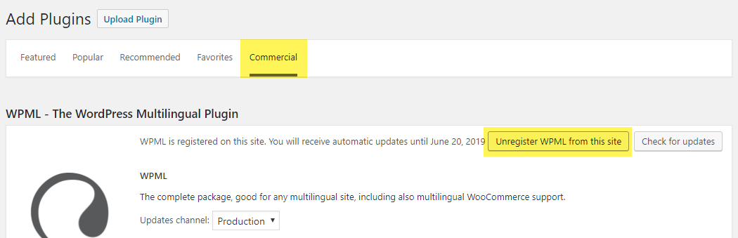 Annuler l'enregistrement de WPML