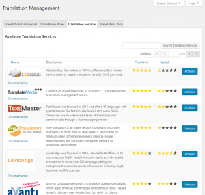 List of available translation services in the WPML interface