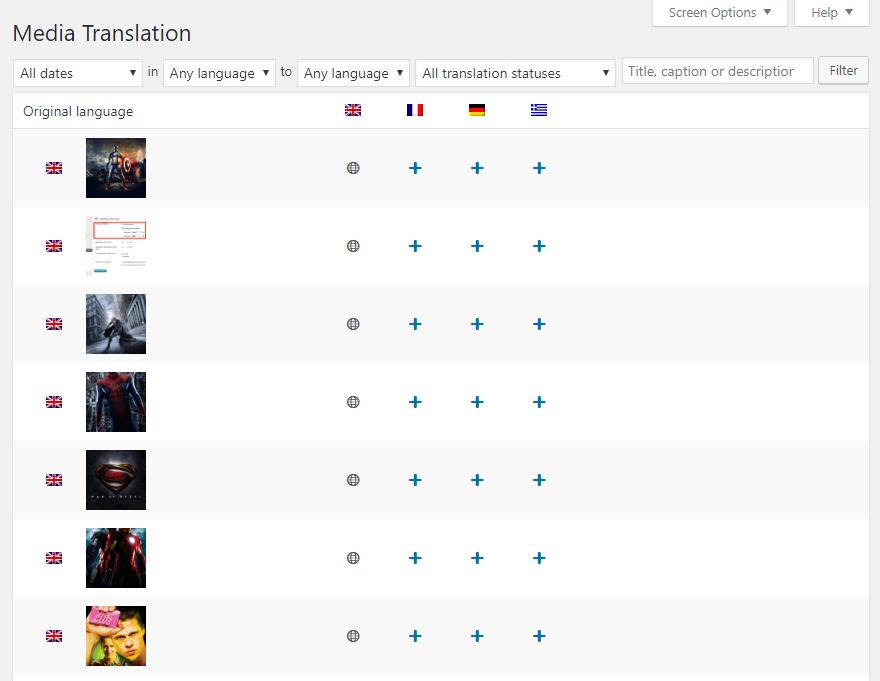 WPML Media Translation Dashboard