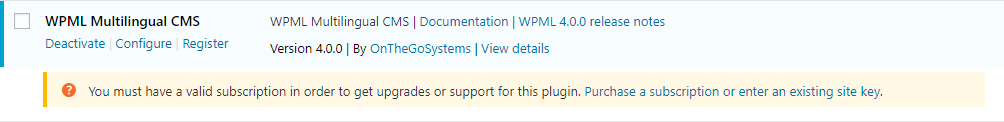 Registration message on the plugins admin page