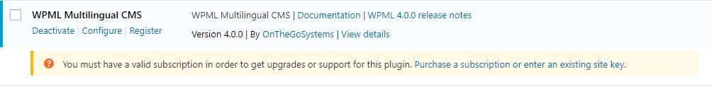 Mensaje de registro en la página de administración de plugins