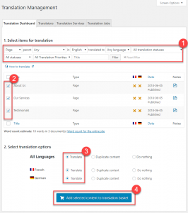 Using Translation Management Dashboard to send content for translation