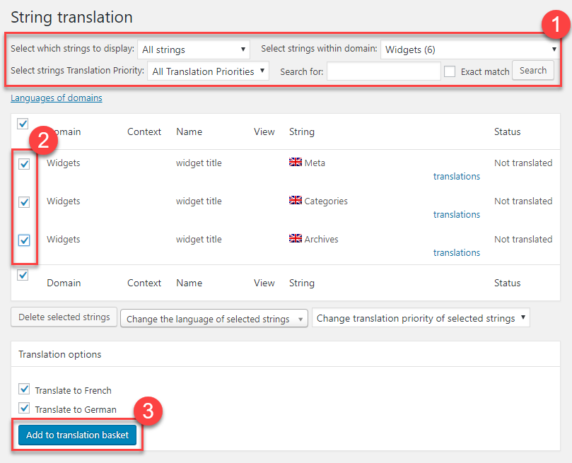 Sending strings for translation