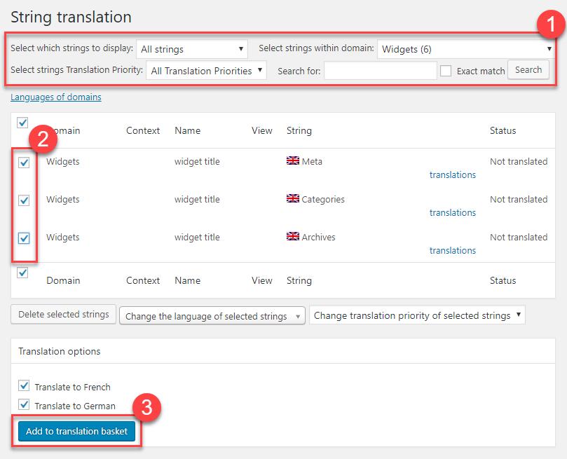 Sending strings for translation