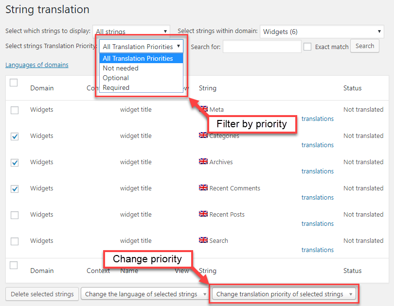 Using translation priority on the String Translation screen