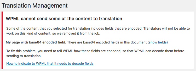 Warning about field encoding issues