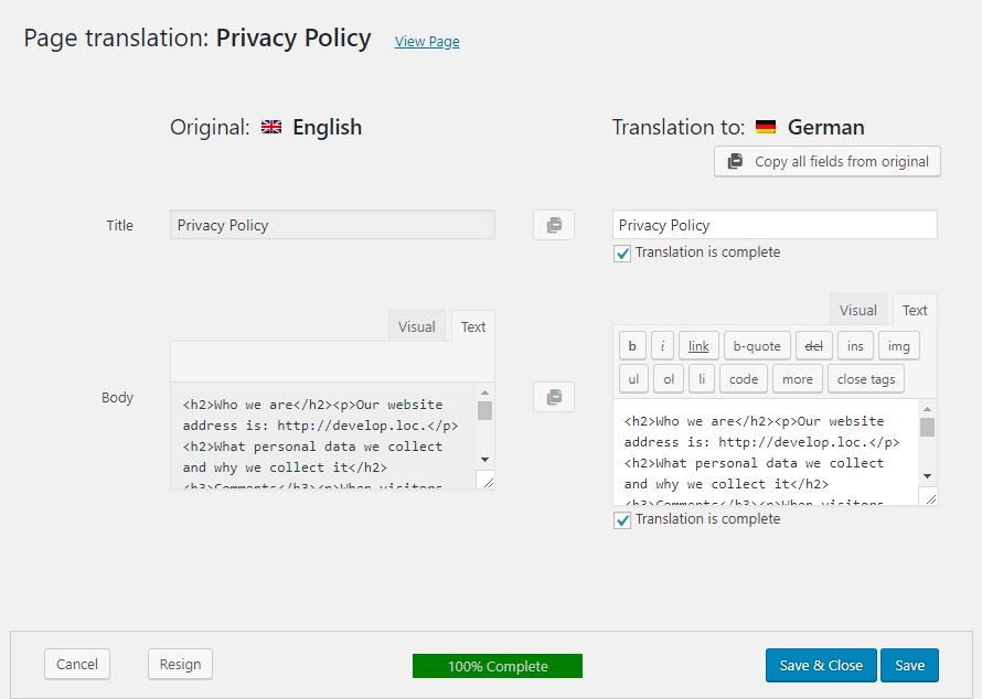 WPML Translation Editor