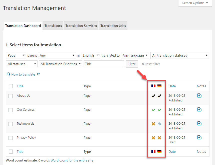 Translation status icons in the Translation Management Dashboard