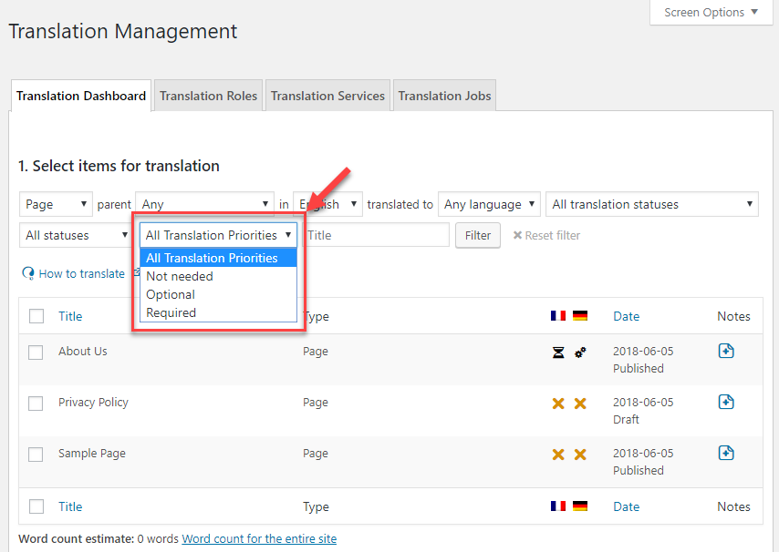 Filtering content by translation priority on the Translation Management Dashboard