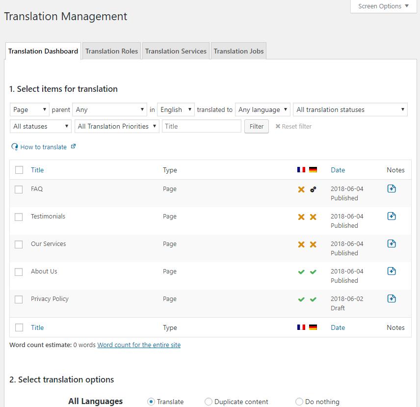 WPML Translation Management Dashboard