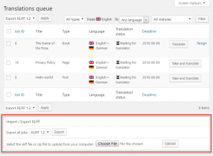 Importing XLIFF files from the translation jobs page