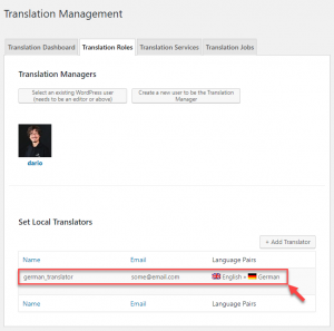 Set user as English to German translator
