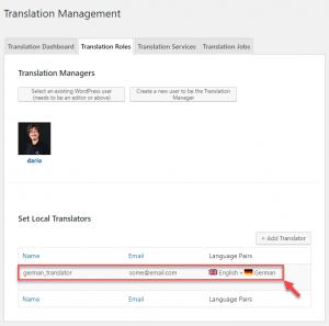 Set user as English to German translator