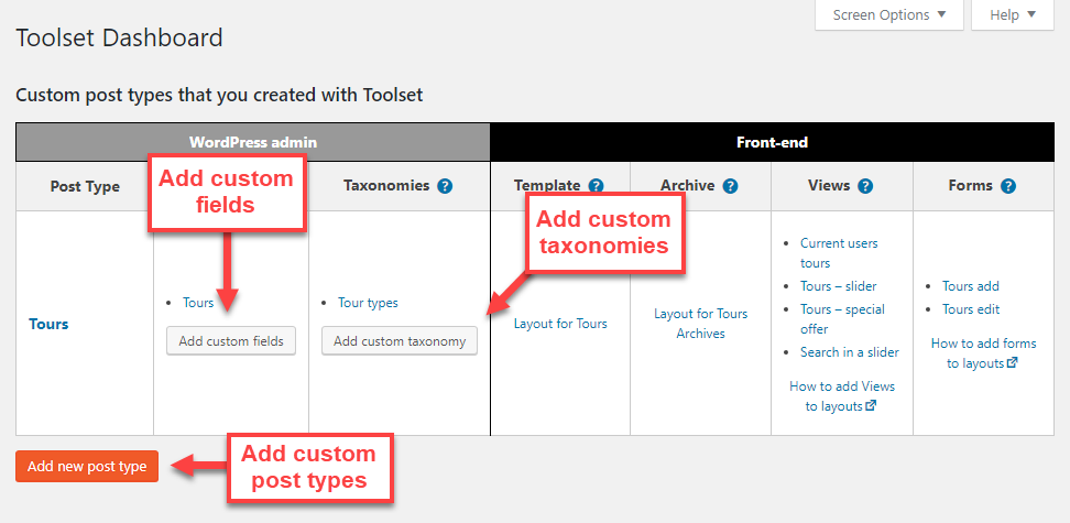 Use Toolset Dashboard to easily create custom post types, fields, and taxonomies