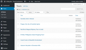 List of custom posts in the backend